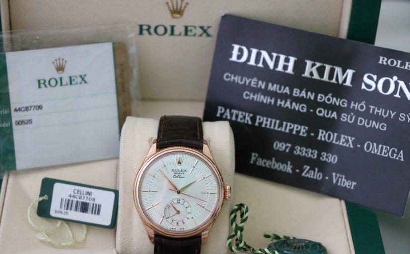 Bán đồng hồ rolex cellini dual time – model 50525 – vàng hồng 18k – size 39mm