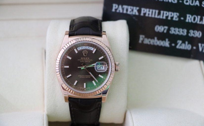 Bán đồng hồ rolex day date 6 số 118135 – Vàng hồng 18k – dây da – size 36mm