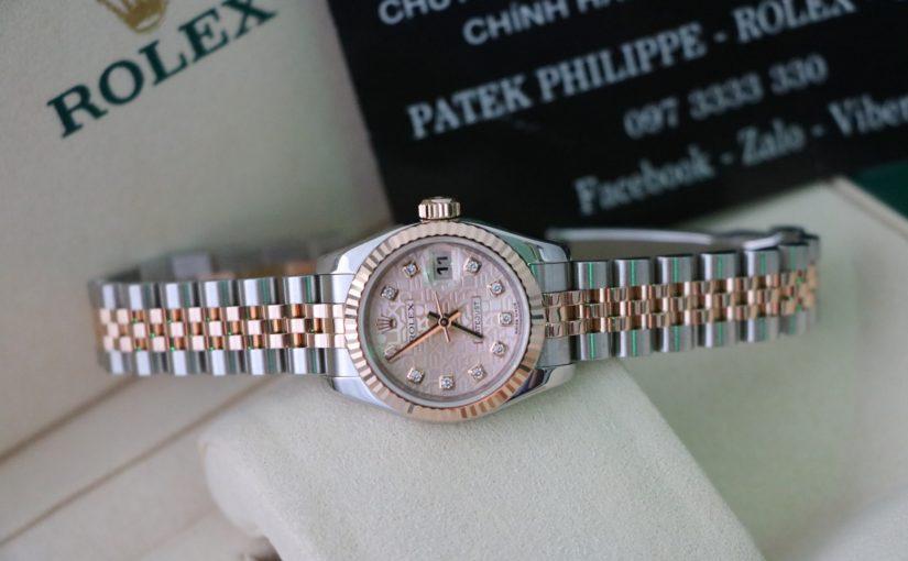 Bán đồng hồ rolex date just Nữ 6 số 179717 – đè mi vàng hồng 18k – size 26mm