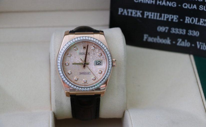 Bán đồng hồ rolex date just 6 số 116185 – vàng hồng 18k – dây da – size 36mm