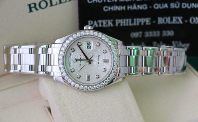 Bán đồng hồ rolex day date 18946 – Chất liệu Platinum Pt950 – Mặt vi tính – size 39mm
