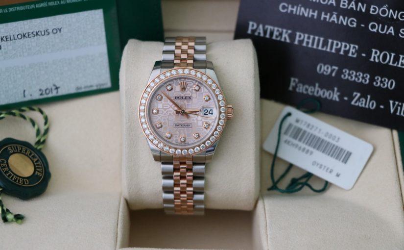Bán đồng hồ rolex date just 6 số 178271 – Đè mi vàng hồng 18k – size Nữ 31mm – Mặt vi tính xoàn