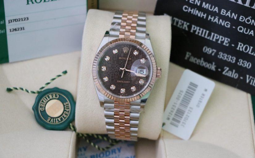Đồng hồ rolex date just 6 số 126231 – Mặt vi tính socola – size 36mm – Đè mi vàng hồng