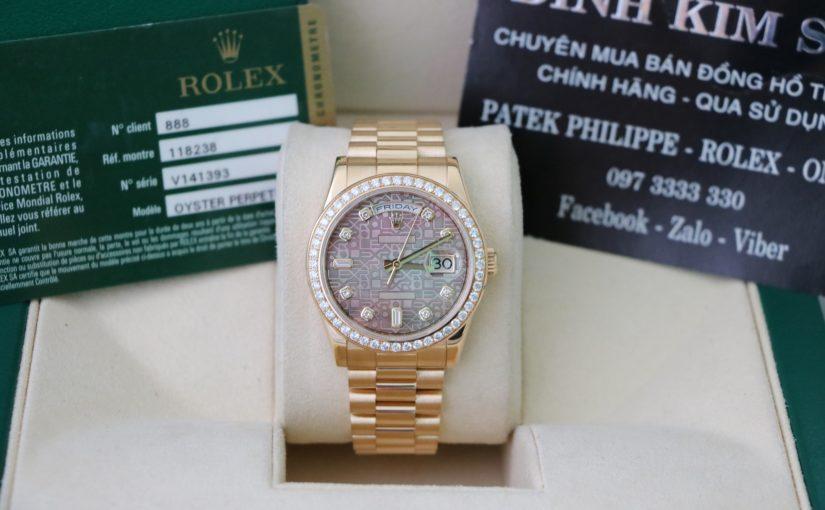 Bán đồng hồ rolex day date 6 số 118238 – Vàng 18k yellow – size 36mm – mặt vi tính xoàn