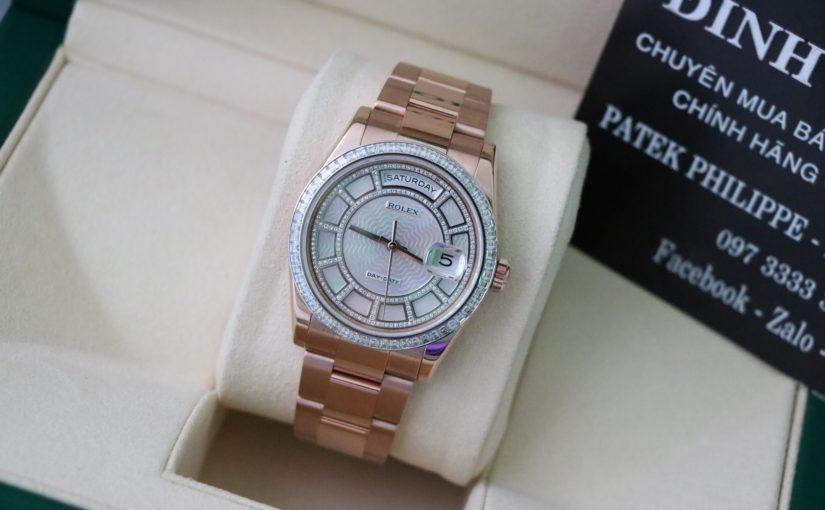 Đồng hồ rolex day date 118395 – Vành hạt vuông – mặt số Carô – size 36mm