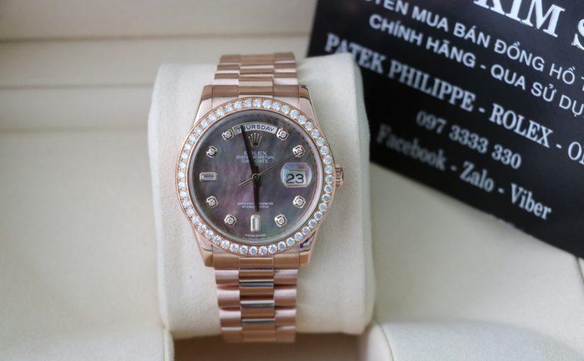 Đồng hồ rolex day date 6 số 118235 – Vàng hồng 18k – Mặt đá xà cừ – vành kim cương