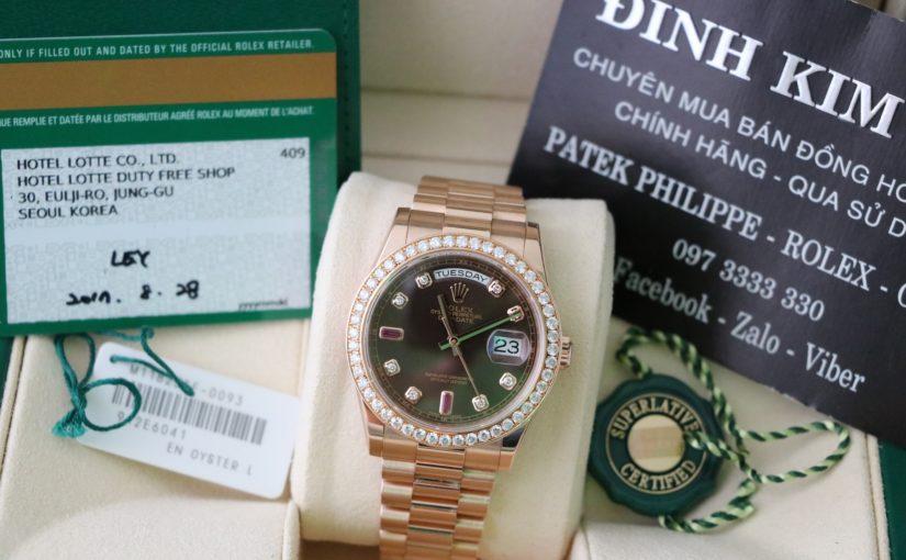 Đồng hồ rolex day date 6 số 118235 – Mặt ruby đỏ – vàng hồng 18k – size 36mm