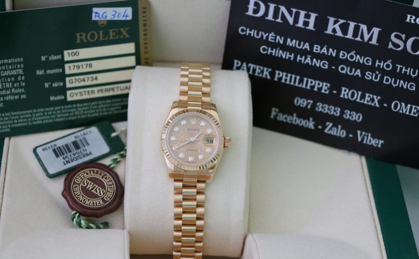 Đồng hồ rolex date just nữ 179178 – Vàng 18k yellow gold – size 26mm