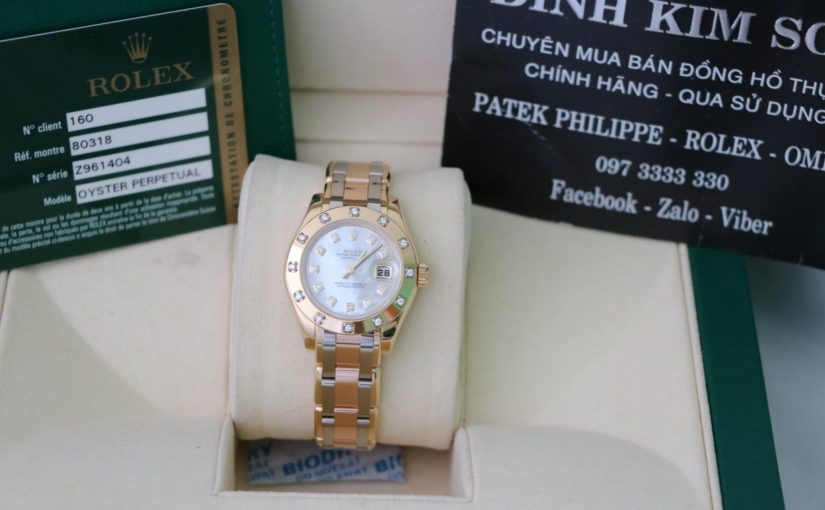 Đồng hồ rolex date just nữ 80318 – Vàng 3 màu – mặt đá xà cừ – size 29mm