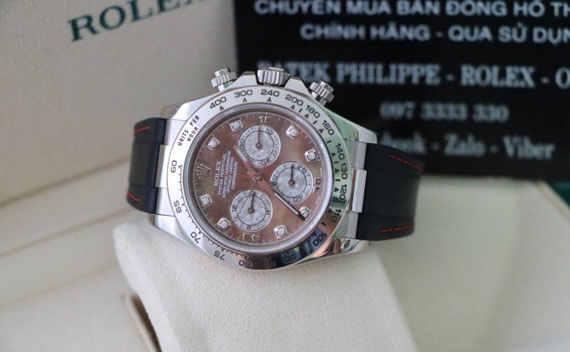 Đồng hồ rolex daytona 6 số 116519 – vàng trắng 18k – mặt đá thiên thạch – size 40mm