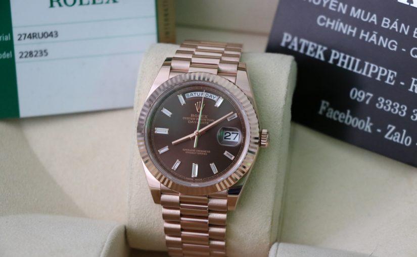 Đồng hồ rolex day date 6 số 228235 – Vàng hồng 18k – mặt xoàn dài – size 40mm