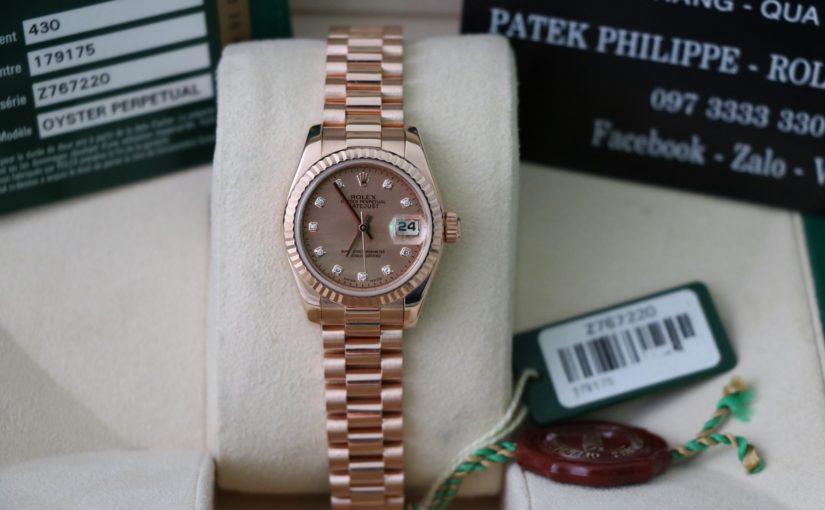 Đồng hồ rolex date just nữ 179175 – Vàng hồng 18k – size nữ 26mm – mặt xà cừ