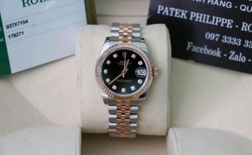 Đồng hồ rolex date just nữ 6 số 178271 – Đè mi vàng hồng – size 31mm