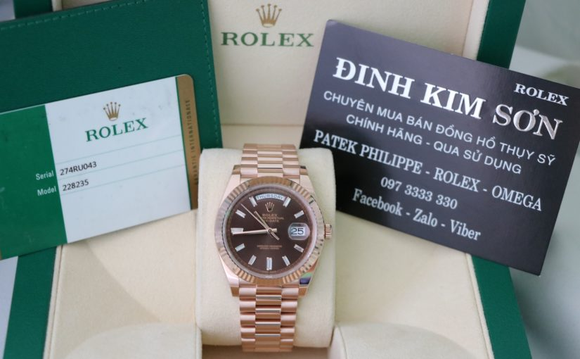 Đồng hồ Rolex day date 6 số 228235 – Vàng hồng 18k – Chocolate – size 40mm