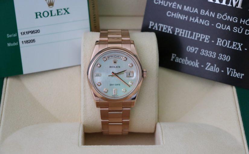 Đồng hồ rolex day date 6 số 118205 – Vàng hồng 18k – Mặt Xà Cừ Caro – Size 36mm