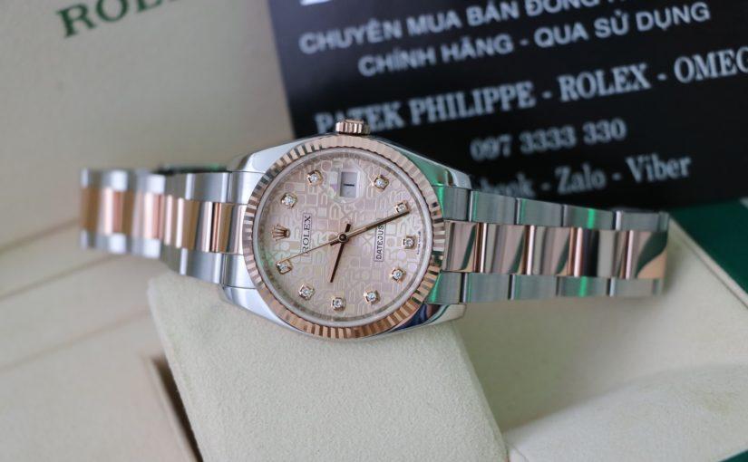 Đồng hồ rolex date just 6 số 116231 – Đè mi vàng hồng – mặt số vi tính – size 36