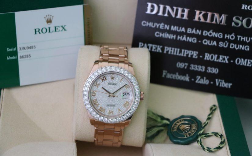 Đồng hồ rolex date just 6 số 86285 – Vàng hồng 18k – Mặt đặt biệt – size 39mm