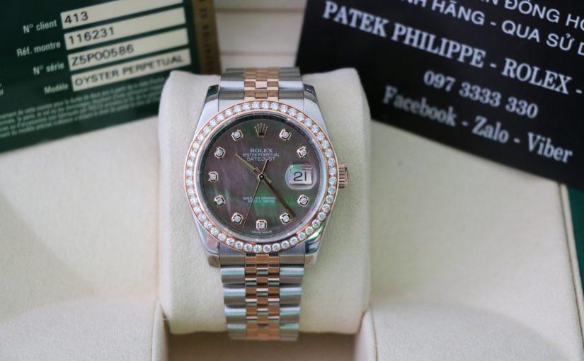 Đồng hồ rolex date just 6 số 116231 – Đè mi vàng hồng – mặt đá xà cừ – size 36
