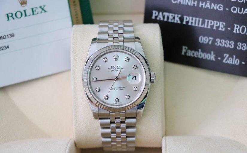 Đồng hồ rolex datejust 6 số 116234 – Inox – mặt hạt xoàn – size 36mm