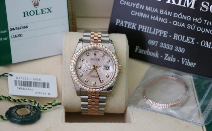Đồng hồ rolex date just 6 số 116231 – Đè mi vàng hồng 18k – mặt vi tính xoàn – size 36mm