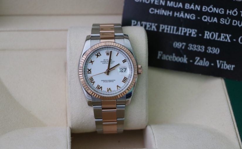 Đồng hồ rolex date just 6 số 116231 – Đè mi vàng hồng 18k – số la mã – size 36mm