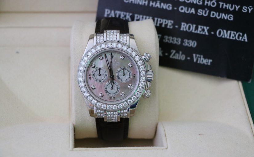 Thu mua Đồng hồ rolex daytona 116519 – Vàng trắng 18k – Hạt xoàn – size 40mm