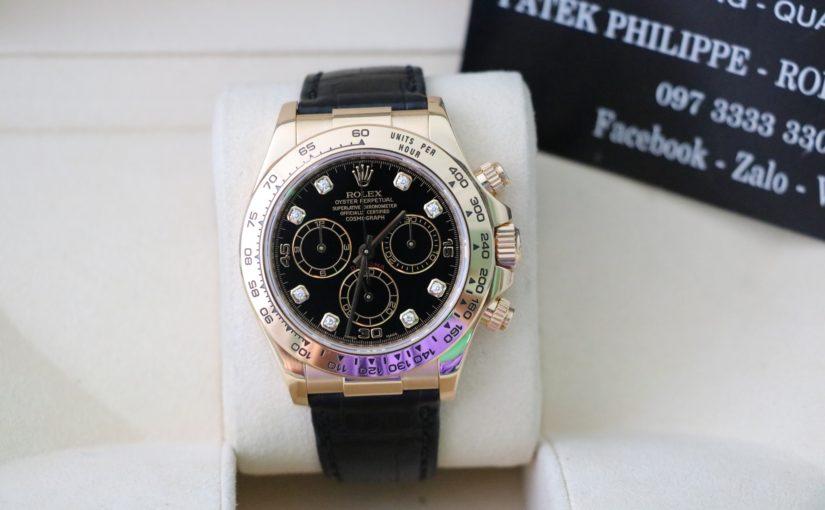 Đồng hồ rolex daytona 6 số 116518 – Vàng 18k – Mặt hạt xoàn – size 40mm