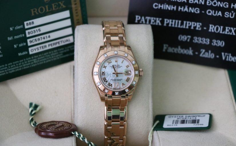Đồng hồ rolex date just nữ 80315 – Vàng hồng 18k – mặt xà cừ – size 29mm
