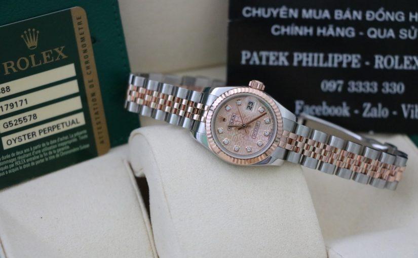 Đồng hồ rolex date just Nữ 6 số 179171 – Đè mi vàng hồng 18k – size 26mm – Mặt vi tính