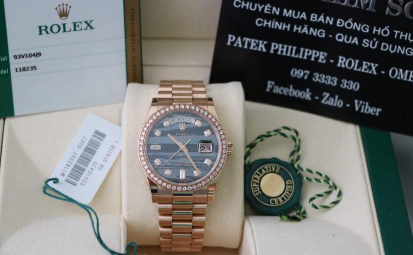 Đồng hồ rolex day date 6 số 118235 – mặt đá thiên thạch – vàng hồng 18k – size 36mm