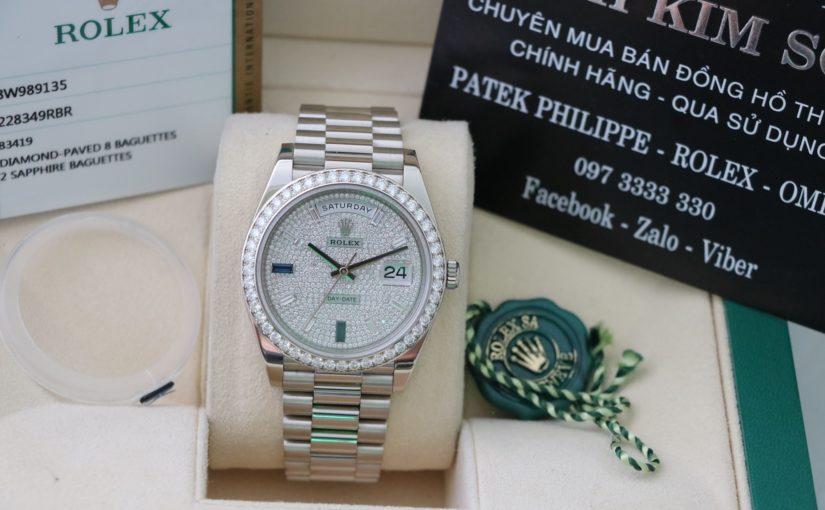 Đồng hồ rolex day date 6 số 228349 – vàng trắng 18k – hạt xoàn – size 40mm