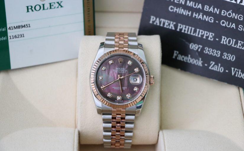 Đồng hồ rolex date just 6 số 116231 – Đè mi vàng hồng 18k – mặt đá xà cừ – size 36