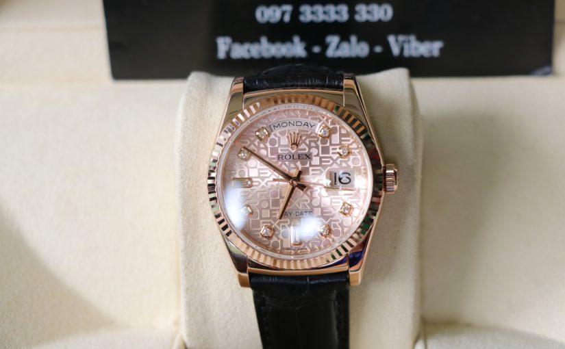 Đồng hồ rolex day date 6 số 118135 – Dây da – vàng hồng 18k – size 36