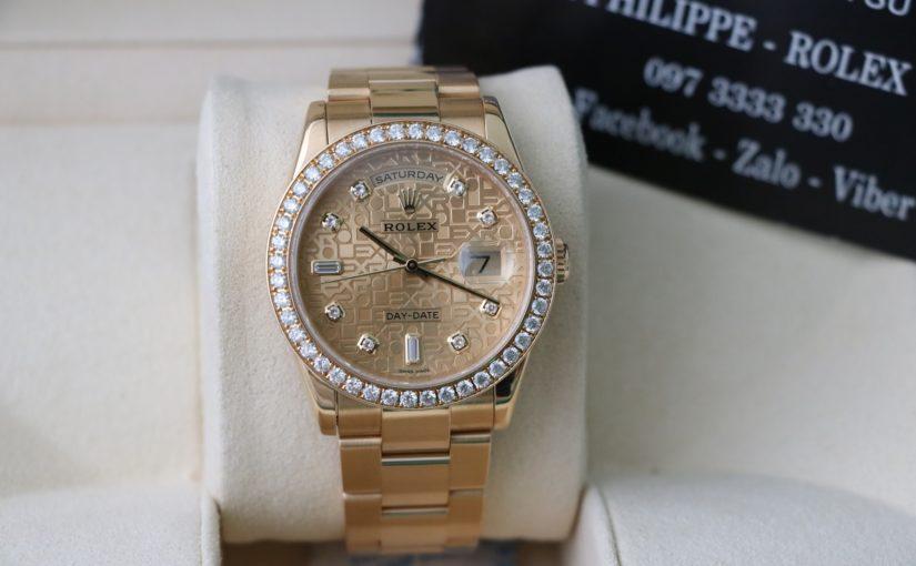 Đồng hồ rolex day date 6 số 118208 – vàng 18k yellow – mặt vi tính xoàn – size 36mm