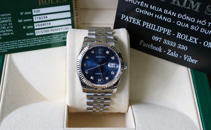 Đồng hồ rolex date just 6 số 116234 – inox – mặt vi tính xanh – size 36mm
