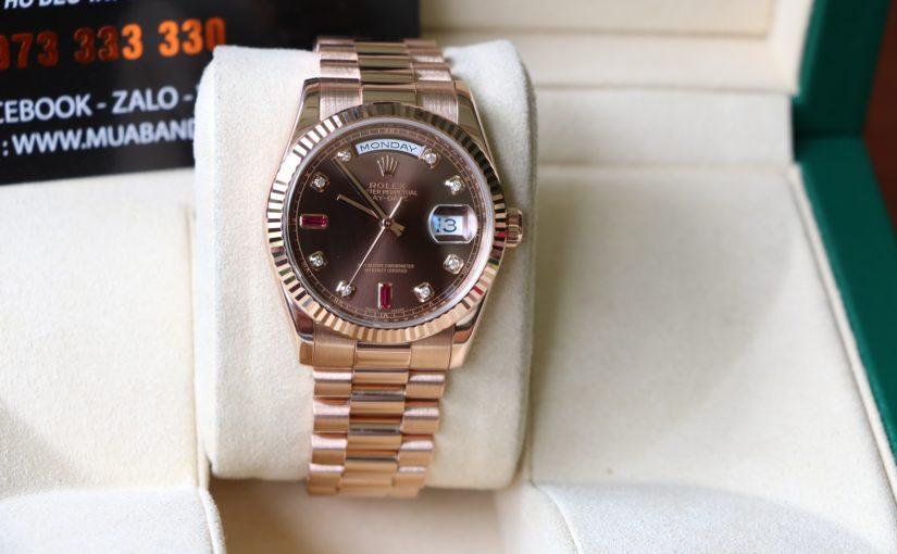 Đồng hồ rolex day date 6 số 118235 – ruby đỏ – vàng hồng 18k – size 36mm