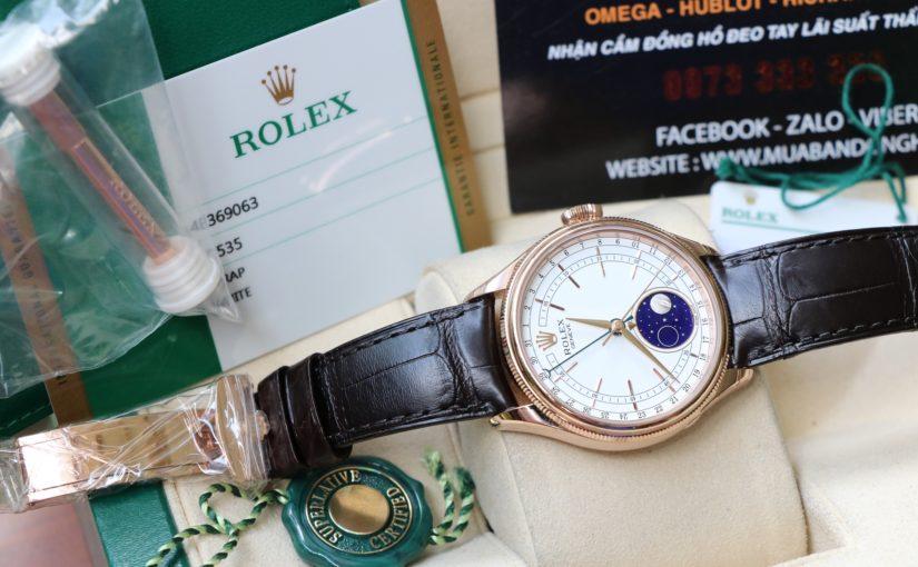 Đồng hồ rolex cellini monphase 50535 – Vàng hồng 18k – Trăng sao – size 39mm