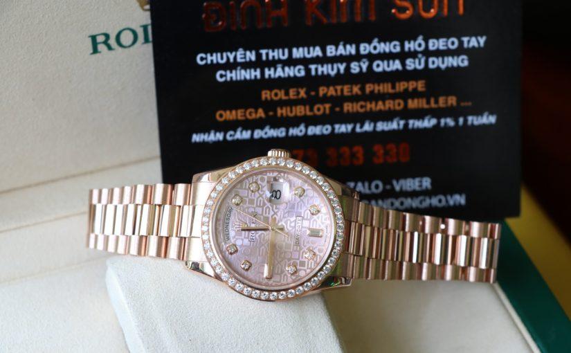 Đồng hồ rolex day date 118235 – mặt vi tính – Vàng hồng – size 36mm