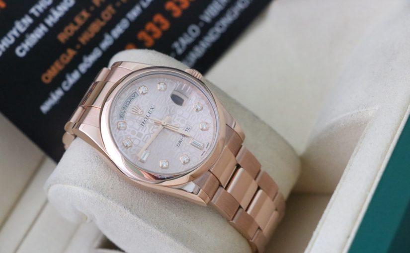 Đồng hồ rolex day date 6 số 118205 – vàng hồng 18k – Mặt vi tính – size 36mm