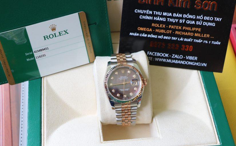 Đồng hồ rolex date just 6 số 116231 – mặt đá xà cừ – đè mi vàng hồng – size 36