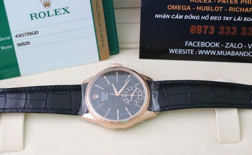 Đồng hồ rolex cellini 50525 – Vàng hồng 18k – dây da – size 39mm