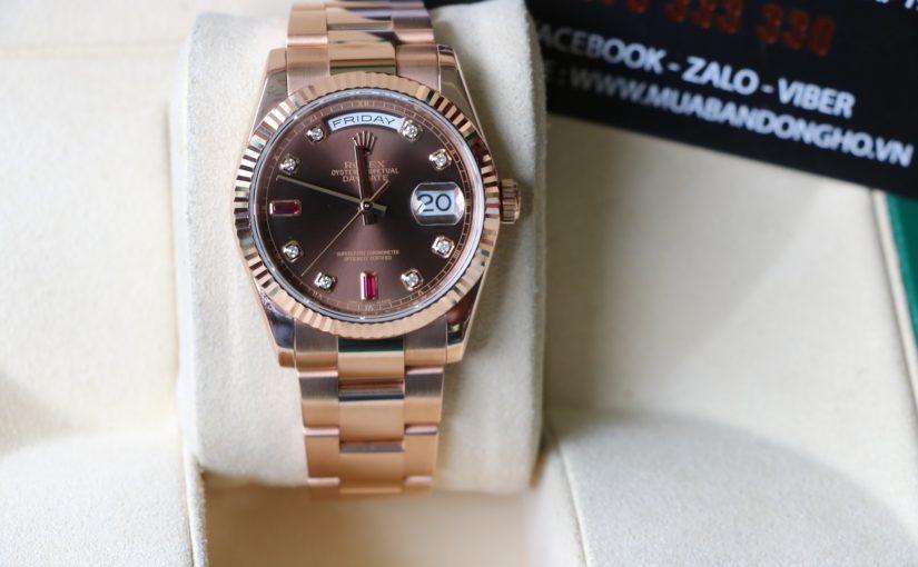 Đồng hồ rolex day date 6 số 118235 – vàng hồng 18k – ruby chocolate – size 36
