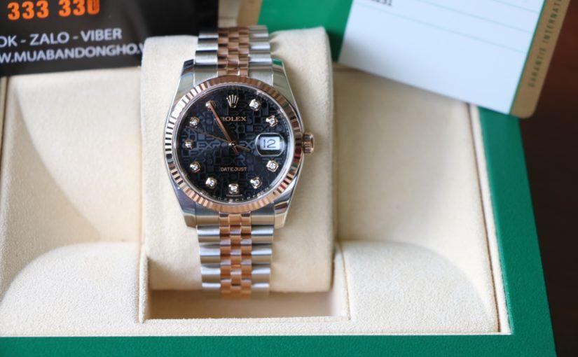 Đồng hồ rolex date juts 6 số 116231 – Đè mi vàng hồng 18k – Mặt Vi Tính – size 36mm