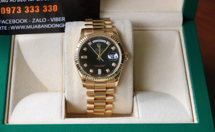 Đồng hồ rolex day date 6 số 118238 – mặt hạt xoàn – size 36mm
