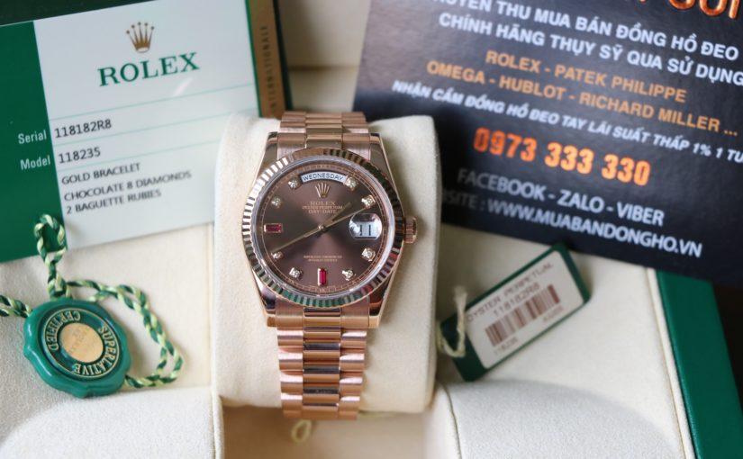 Đồng hồ Rolex day date 6 số 118235 – vàng hồng 18k – Mặt ruby đỏ – size 36mm