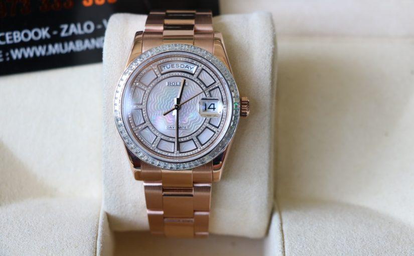 Đồng hồ rolex day date 6 số 118395 – vàng hồng 18k – Vành xoàn zin – mặt đặt biệt