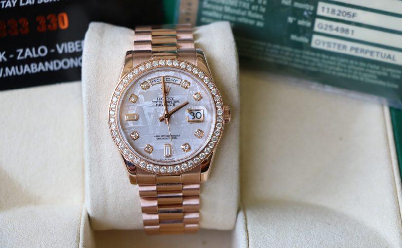 Đồng hồ rolex day date 6 số 118205 – Vàng hồng 18k – mặt đá thiên thạch – size 36