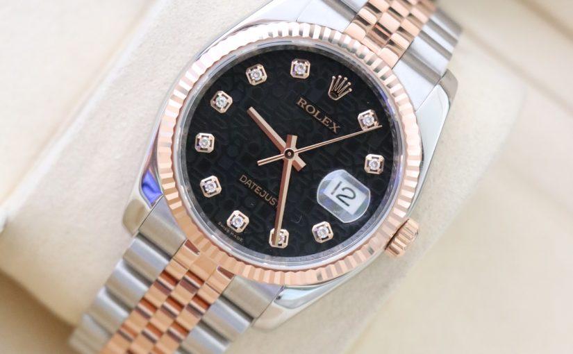 Đồng hồ rolex date just 6 số 116231 – mặt số vi tính xoàn – size 36 – đè mi vàng hồng