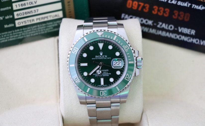 Đồng hồ rolex submariner hulk 116610lv – Vành xanh ceramic – inox – size 40mm