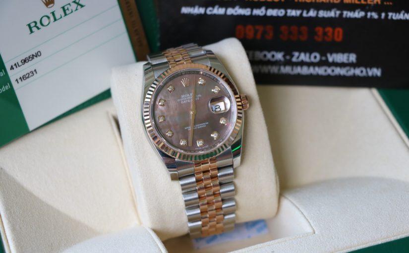 Đồng hồ rolex date just 6 số 116231 – đè mi vàng hồng – mặt đá xà cừ – size 36mm